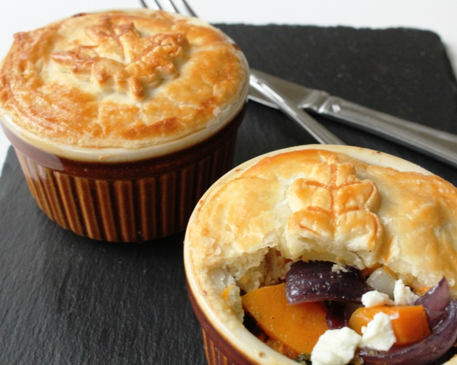 Butternut squash, feta, red onion pies