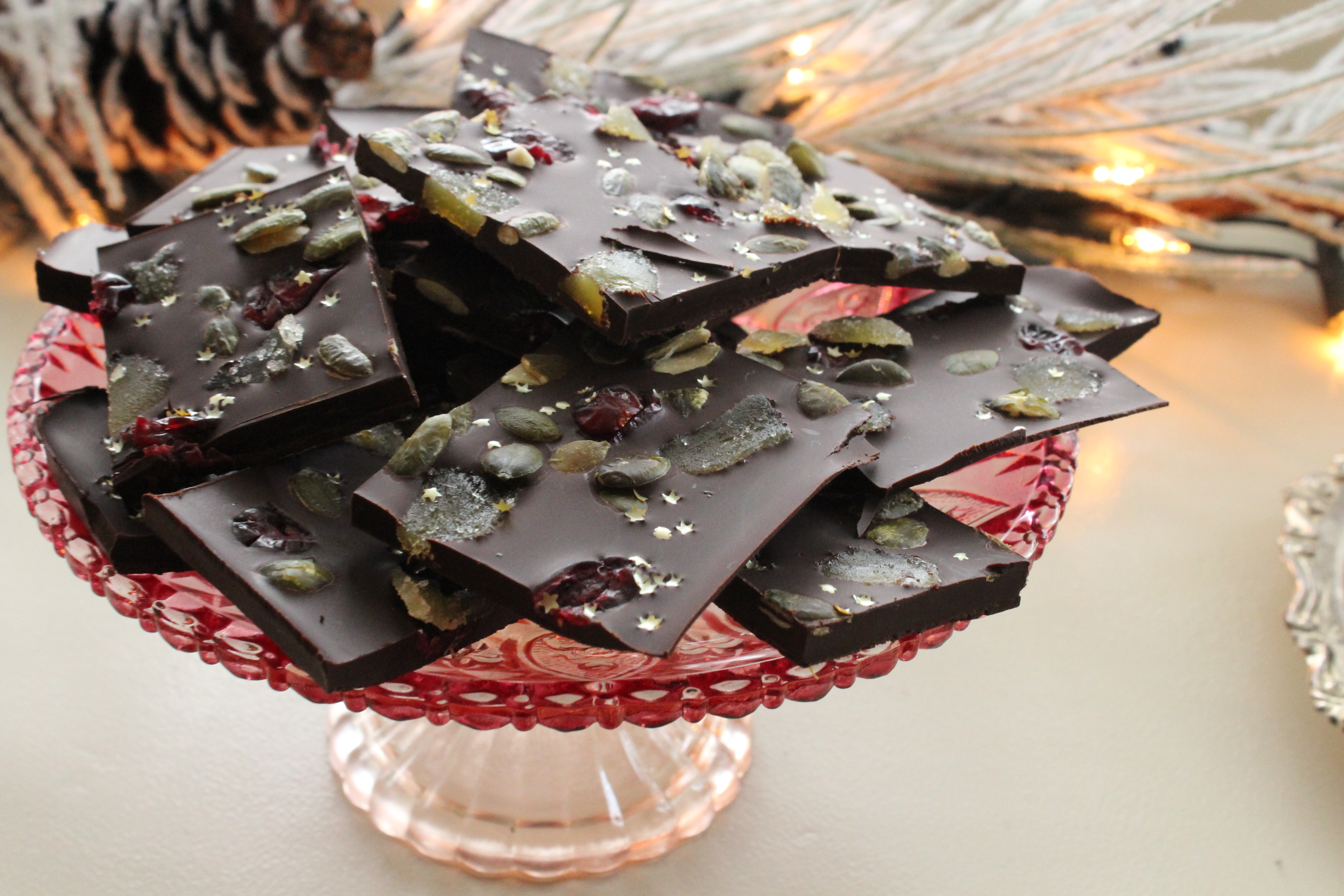 Chocolate Bark with Ginger, Cranberries and Pumpkin seeds