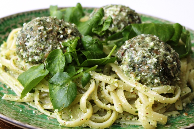 Kale polpette with chunky watercress pesto