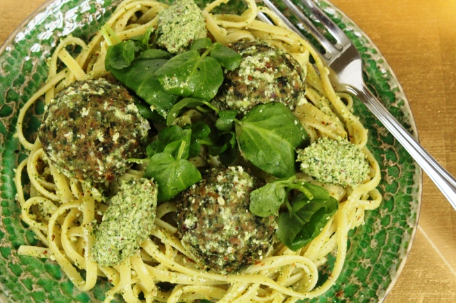 Kale Polpette with pesto