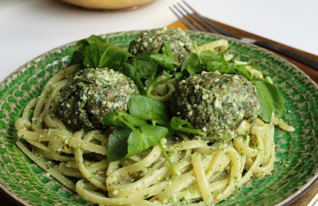 Kale polpette with watercress pesto