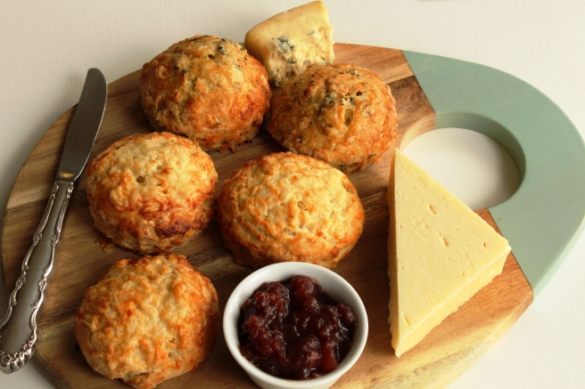 Cheese scones with cheese board