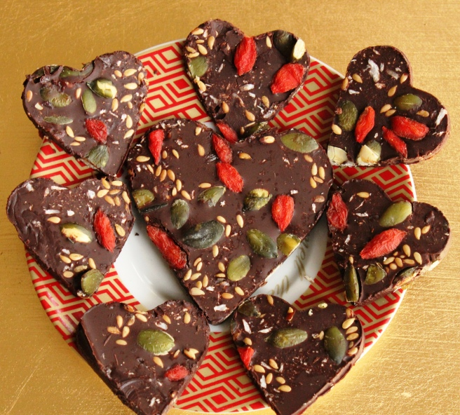 Superfood chocolate hearts